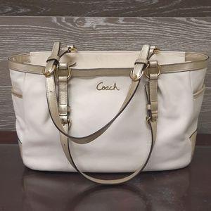 Coach cream & Gold Glitter soft leather bag